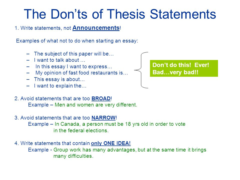 what are some good thesis statements Developing a thesis after reading your thesis statement a good, standard place for your thesis statement is at the end of an introductory paragraph.